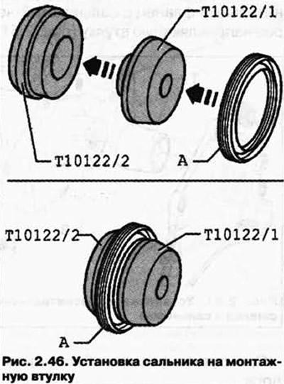 Снятие и установка сальника со стороны маховика (Силовой