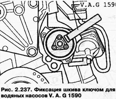 Снятие и установка водяного насоса (бензиновый двиг