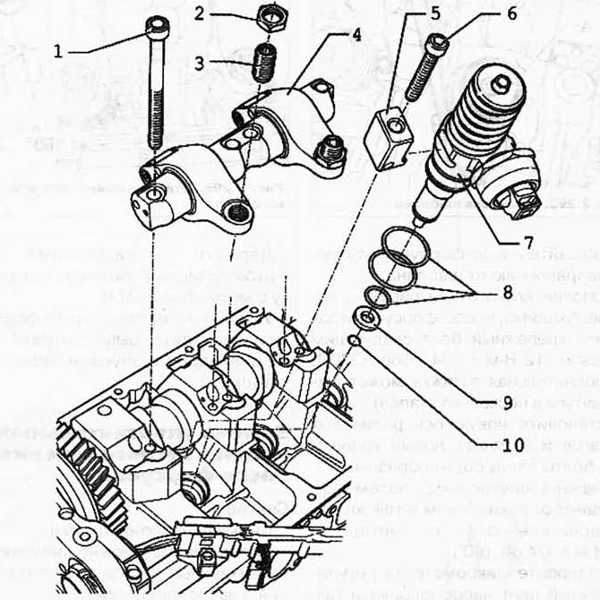 Снятие и установка насос-форсунки (дизельный двиг