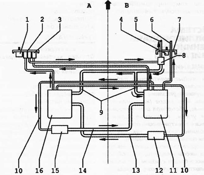 План подключения топливопроводов и деталей в топливном