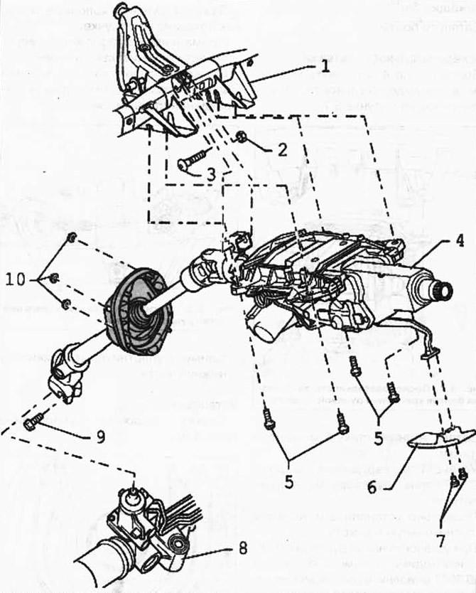 Снятие и установка рулевой колонки (Шасси / Рулевой
