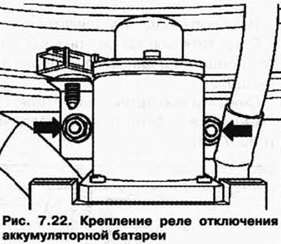 Снятие и установка реле отключения аккумуляторной батареи