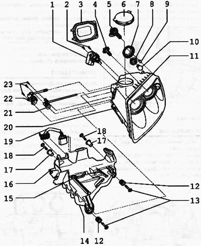 Снятие и установка фар (Электрооборудование / Приборы и