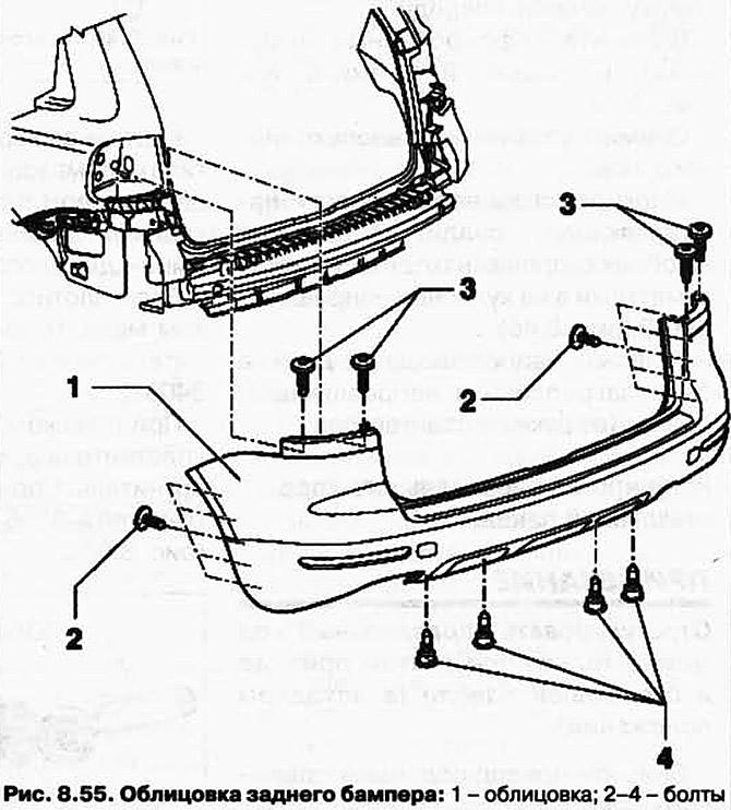 Снятие и установка облицовки заднего бампера (Кузов