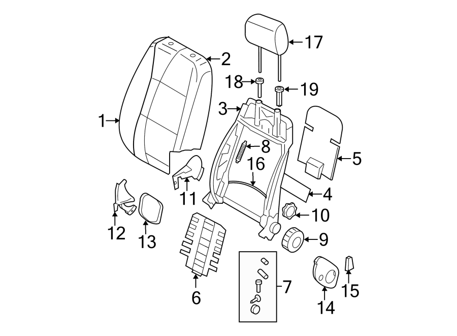 1996 Volkswagen Garn.dossi. Seat, back, components