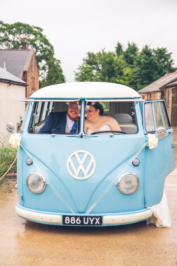 vw campervan hire eden wedding barn