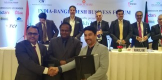 Mr Mangesh Wadje_Director & CEO Highbar Technocrat(On the left),Mr. Tipu Munshi, Honorable Minister for commerce, Government of Bangladesh(In the centre),Mr Shameem Ahsan, Chairman, eGeneration(On the