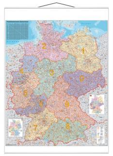 521855 Postcodekaart Duitsland,  HxB 1380x980mm