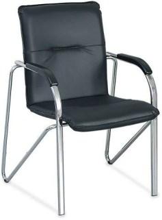103208 Bezoekersstoel,  4 poten ovale buis verchroomd