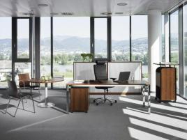 147851 in hoogte verstelbaar bureau in vrije vorm,  HxBxD 720-840x1400x1400mm