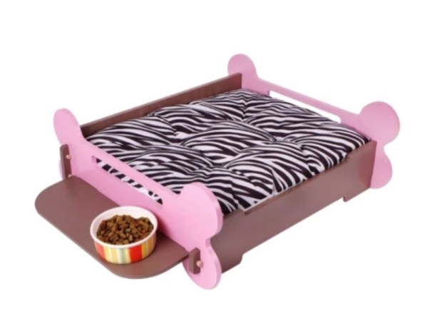 Ibiyaya pet bone bed pink brown