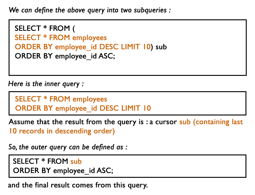 MySQL Subquery Exercises Query to select last 10 records