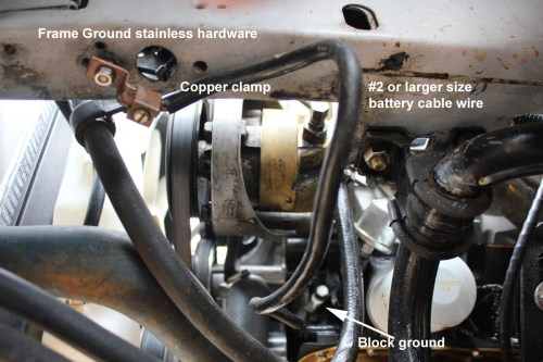small resolution of ground engine block to chassis frame ground mustang