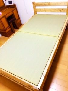「自作のベッドフレーム」に畳。サイズピッタリ【DIYで作る畳ベッド】