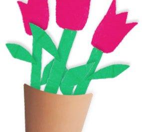 Tulipes en papier, bricolage simple pour petite fille