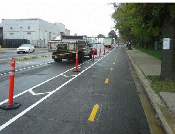 Shiny new protected bike lane on 6th St NE