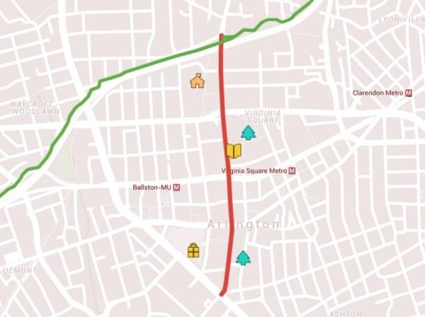 The red line is the proposed bike lane along North Quincy. The green line is the Custis Trail.