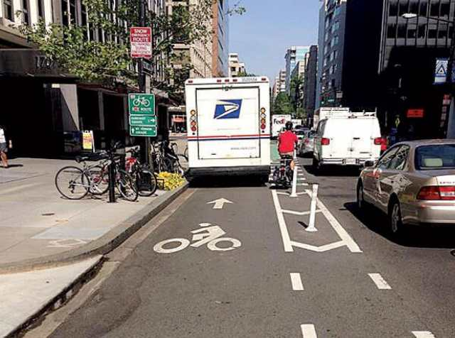 Blocked bike lane by USPS