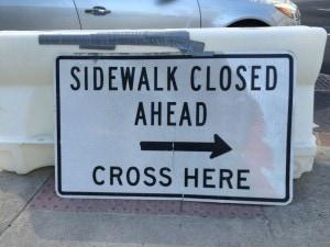 Side walk closed L St