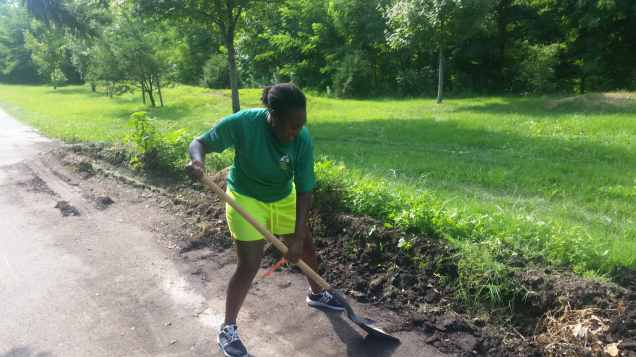Moving soil from the trailbed of Marvin Gaye