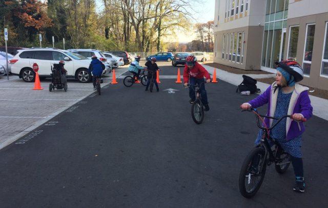 Youth on bikes at Bridges PCS