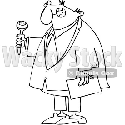 Clipart Outlined Ceremony MC Holding A Microphone And
