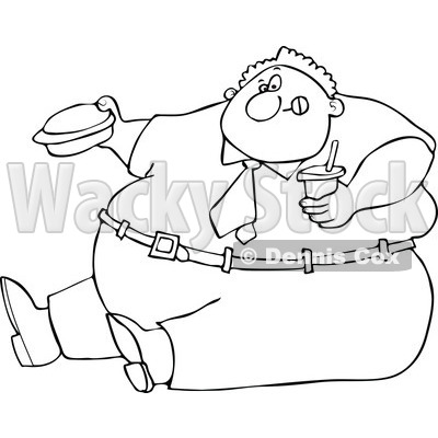 Clipart Outlined Cartoon Unhealthy Obese Man Eating A