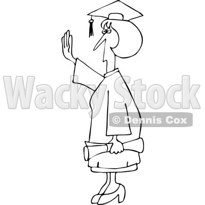 Clipart Outlined Female College Graduate Holding Her Hand