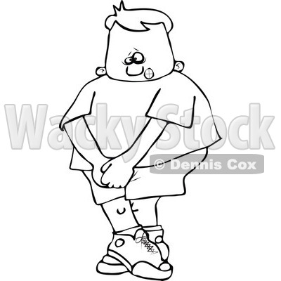 Cartoon Of An Outlined Boy Needing To Use The Restroom