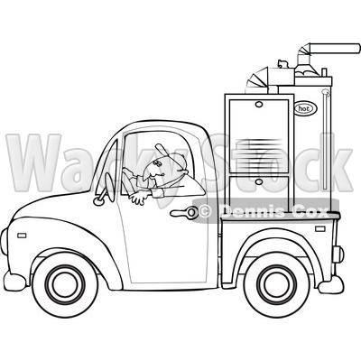 Cartoon Of An Outlined Worker Driving A Truck With A