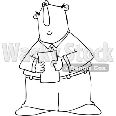 Cartoon of an Outlined Businessman Reading a Memo