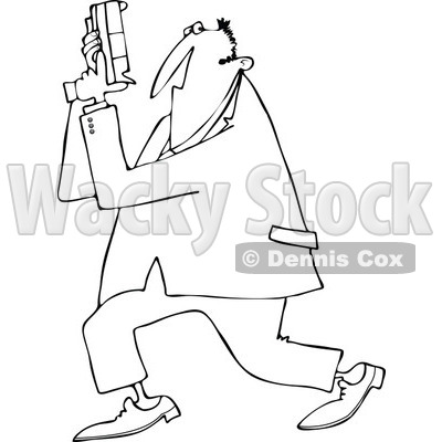 Cartoon of an Outlined Secret Agent Man Holding up His