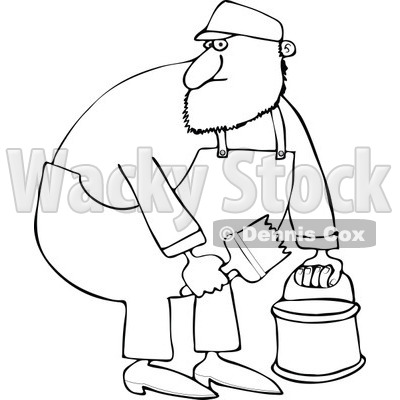 Cartoon of an Outlined Painter Man Holding a Bucket and