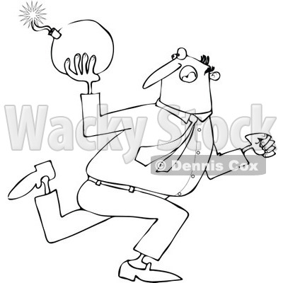 Cartoon of an Outlined Businessman Running and Ready to