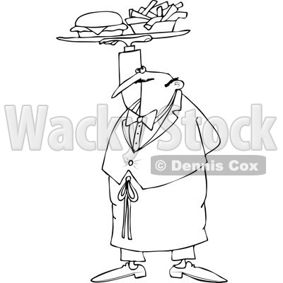 Cartoon of an Outlined Male Waiter Serving a Gourmet