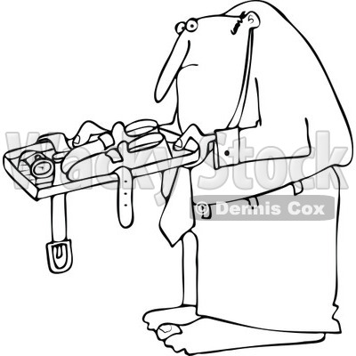 Cartoon of an Outlined Man Going Through Airport Security