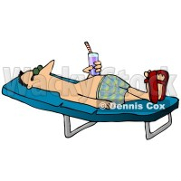 Relaxed Man With a Beverage Sun Bathing on a Lounge Chair