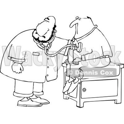 Cartoon Clipart of a Black and White Chubby Male Doctor