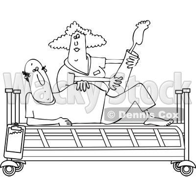 Clipart of a Black and White Female Nurse Helping a Male