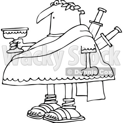 Vector Of A Cartoon Betrayed Caesar Stabbed With Swords
