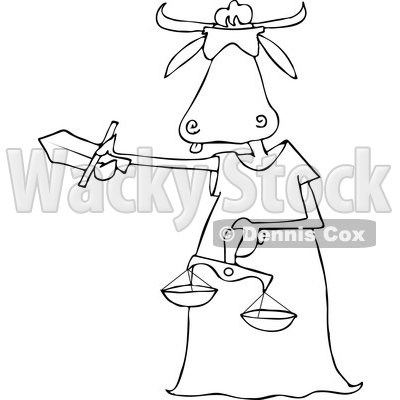 Lineart Clipart of a Cartoon Black and White Blindfolded