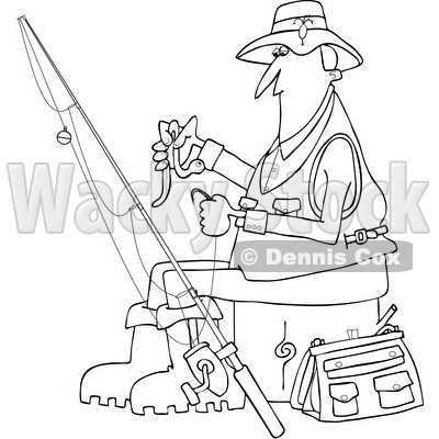Clipart of a Cartoon Black and White Lineart Fisherman