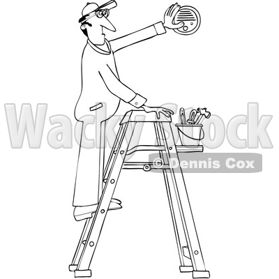 Clipart of a Cartoon Black and White Lineart Maintenance