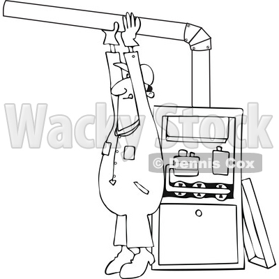 Clipart of a Cartoon Lineart Black Male Furnace Installer