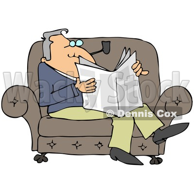 Clipart Illustration of a Relaxed Man Sitting On A Couch