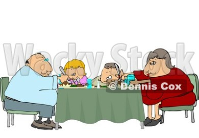 Family Eating Dinner Meal Together At The Dining Room Table Clipart By