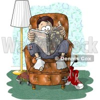 Teenage Boy Sitting on a Living Room Chair While Reading a ...