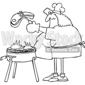 Elderly Woman Cooking Food On an Old Household Kitchen