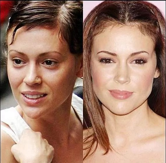 More celebs with/without makeup. Some aren't too bad, but ...