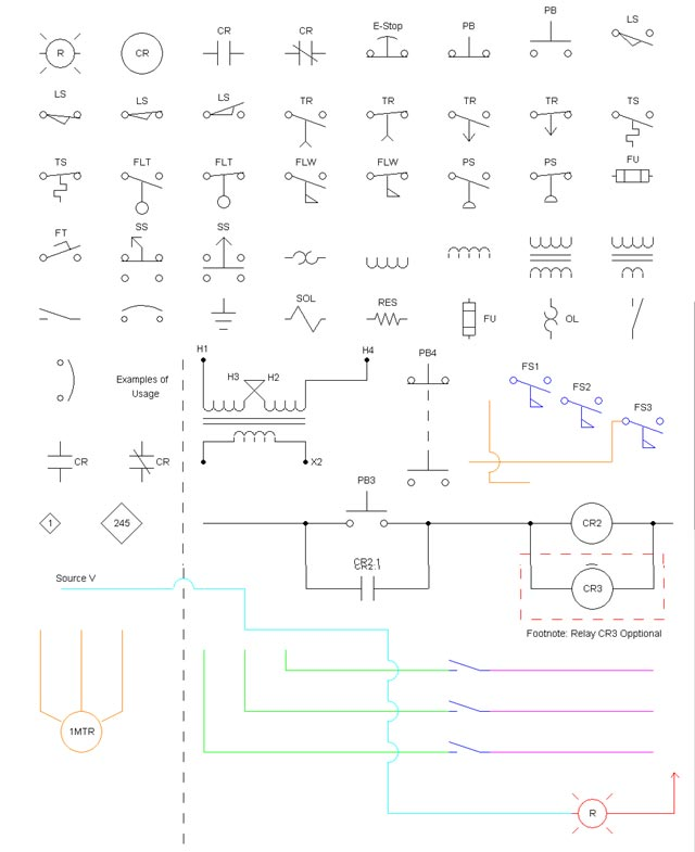 Industrial Wiring Diagram Symbols Electrical Symbols With Names